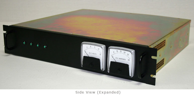 TR-12VDC Rack Mount Power Supplies side view