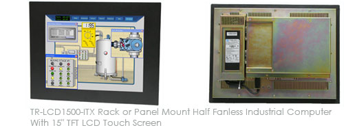 TR-LCD1500-ITX Rack or Panel Mount Half Fanless Industrial Computer With 15inch TFT LCD Touch Screen