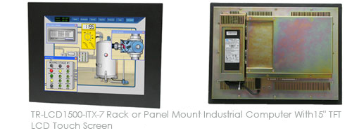 TR-LCD1500-ITX-DA Rack or Panel Mount Half Fanless Industrial Computer With 15inch TFT LCD Touch Screen