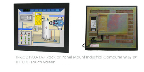 TR-LCD1900-ITX-DA Rack or Panel Mount Half Fanless Industrial Computer With 19inch TFT LCD Touch Screen