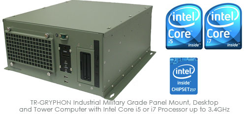 TR-GRYPHON Industrial Military Grade Panel Mount, Desktop and Tower Computer with Intel Core i5 or i7 Processor up to 3.4GHz