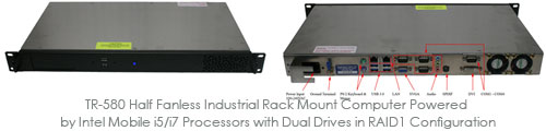 TR-580 Half Fanless Industrial Rack Mount Computer Powered by Intel Mobile i5/i7 Processors with Dual Drives in RAID1 Configuration